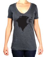 CampTv-351CHH-S : Gravel Bear Head V-Neck Tee Small - Charcoal Heather