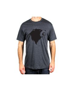 CampTv-350CHH-L : Gravel Bear Head T-Shirt Large - Charcoal Heather