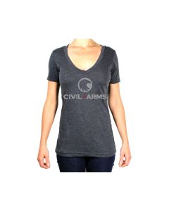 CAI-101CHH-M : Civil Arms Dominant Star V-Neck Tee Medium - Charcoal Heather