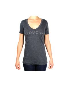 CampTv-151CHH-M : Mouche Casting Arc V-Neck Tee Medium - Charcoal Heather